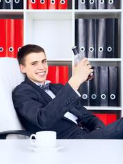Young Businessman Triumph