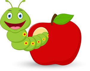 Cute worm cartoon  in the apple