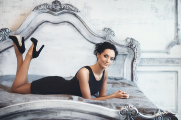Beautiful Lady Lying On Bed