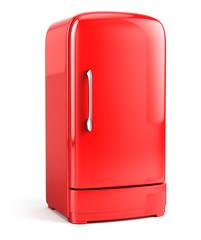 Red Retro fridge isolated on white bacground