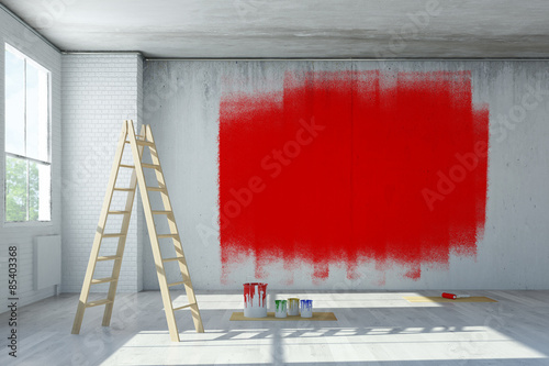 rote farbe an wand aus beton stockfotos und lizenzfreie. Black Bedroom Furniture Sets. Home Design Ideas