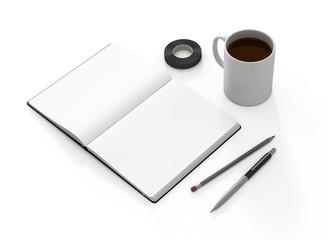 Notizbuch offen weiß Vorlage Bleistift Kaffee