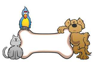 Dog, Bird and Cat with Bone Pet Sign Logo Vector Illustration