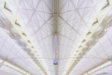 Modern architecture of ceiling in Hong Kong airport.