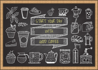 Hand drawn coffee and bakery on chalkboard.