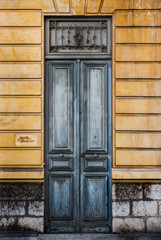 old vintage european wooden doors background