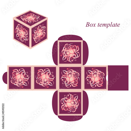 Decorative Boxes Templates : Quot square box template with lid floral elements and