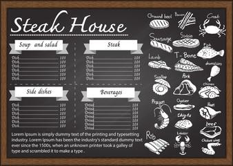 Restaurant menu on chalkboard design template.