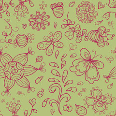 Abstract doodle floral shapes