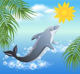 Photo sur Aluminium Dauphins Dolphins and sun
