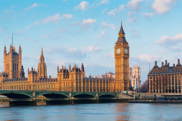 Elizabeth Tower, Big Ben and Westminster Bridge in early morning light, London, England, UK
