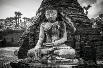 Buddha Image in Black and White tone which located in Inwa ancient city, Myanmar