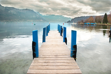 Wooden pier of the Lake Annecy in Haute Savoie, France