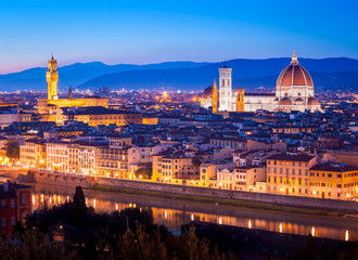 Panorama of Florence with its landmarks, Saint Mary of the Flower and Old Palace (Palazzo Vecchio or Della Signoria)