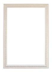 vintage white wood frame on white background