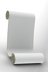 Scroll on a gray background with gold.