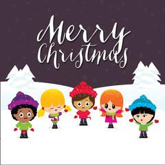 Merry Christmas Children on Purple Background