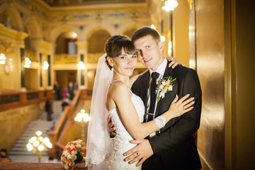 bride and groom in the palace