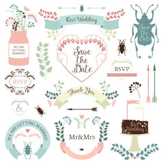 Wedding graphics set in retro style and pastel colors. Vintage wedding floral elements