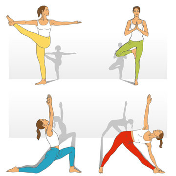 Yoga Studio. Yoga class. Set of yoga poses (girl in red, blue, yellow, green and white clothes). Vector yoga illustration. Women in recreation activities. Healthy lifestyle with yoga exercises.
