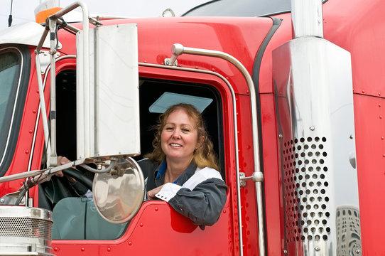 Woman Driving An Eighteen Wheeler