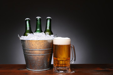 Bucket of Beer With Mug on Wood