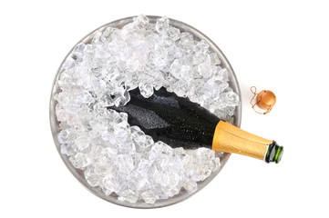 Champagne in ice overhead view