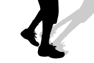 Vector silhouette of male feet.