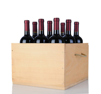 Cabernet Wine Bottles in Wood Crate
