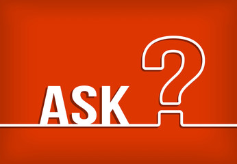 Ask question mark vector with red background illustration