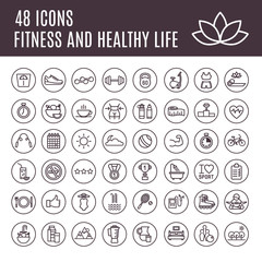 Icons Fitness and healthy life