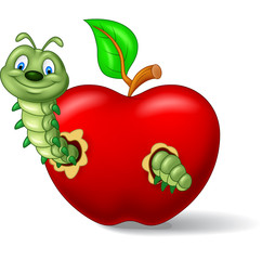 Caterpillar eat the apple