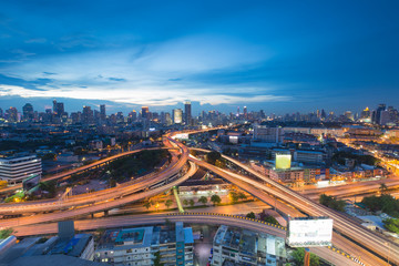Aerial view of Bangkok overpass night severe traffic congestion during twilight