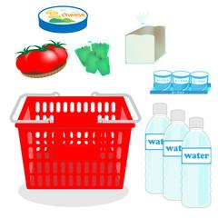 食材セット、買い物かご、買物かご、スーパーマーケット、イラスト、カゴ、チーズ、パン、