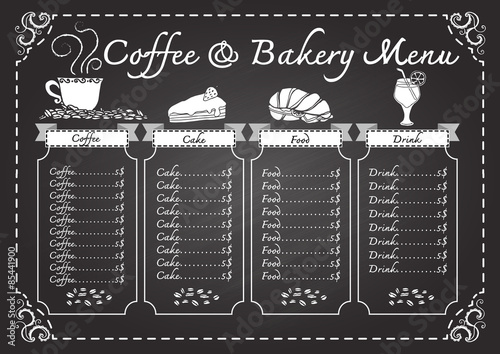 coffee and bakery menu on chalkboard design template stock image