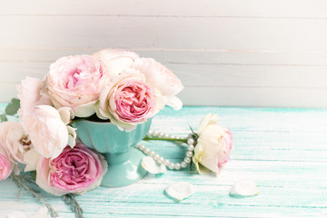 Background with elegant roses flowers