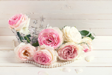 Background with sweet pink roses