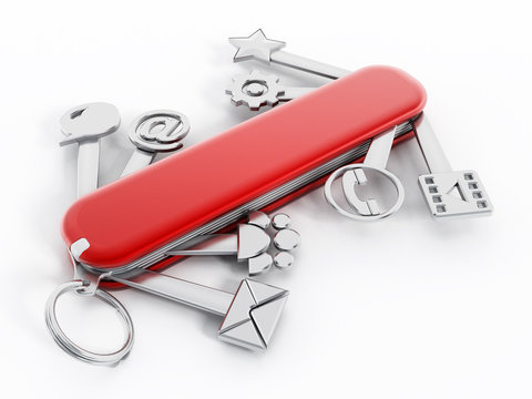Swiss knife with technology icons
