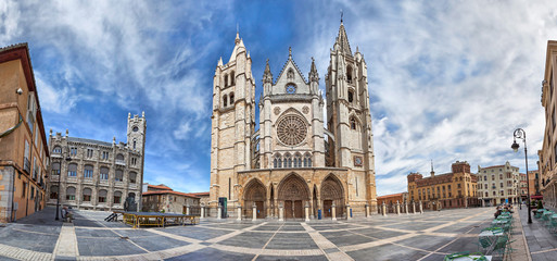 Panorama of Plaza de Regla and Leon Cathedral, Spain Wall mural