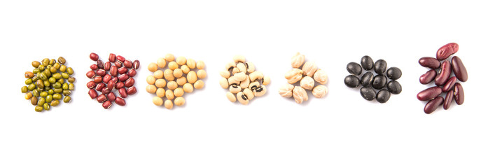 Variety of beans over white background