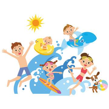 家族が海、プールで遊ぶ