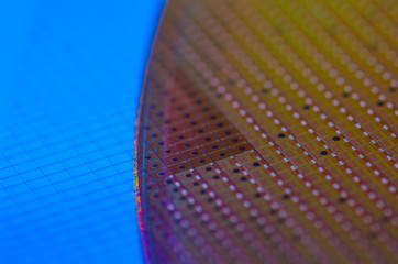 Chip Wafer with Rainbow Colours, Technology Background