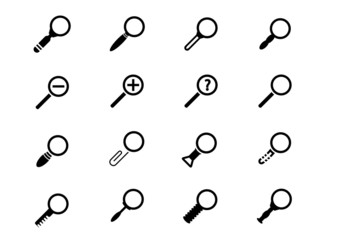 Vector black magnifying glass icons set on white background
