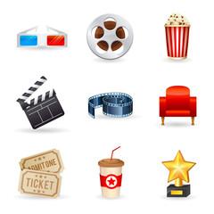 Set of realistic cinema icons