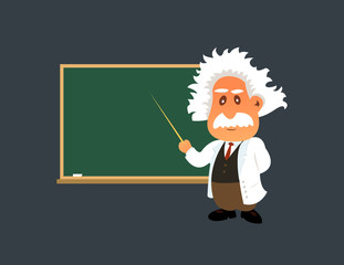 Old professor is showing lesson on the green board