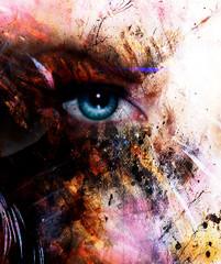 beautiful blue women eye beaming, color spots effect, painting