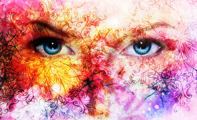 beautiful blue women eyes, color effect, painting collage, viol