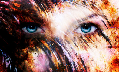 beautiful blue women eyes beaming, color feathers effect, paint