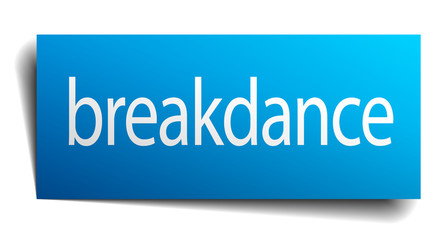 breakdance blue square isolated paper sign on white
