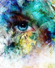 beautiful blue women eye beaming, color desert crackle effect,